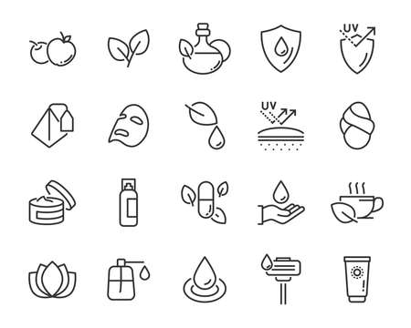 set of skincare line icons, facial sun block icon, facial mask