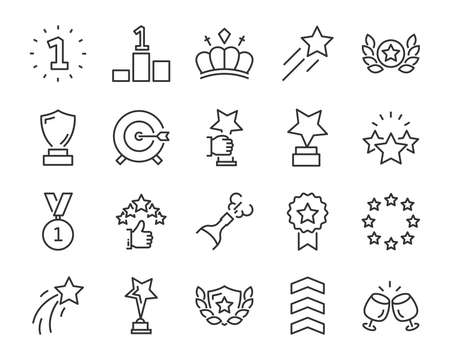 set of award line icons, such as star, champion, prize, acheivement, winner, trophy, glory, certificate Stockfoto - 124649360