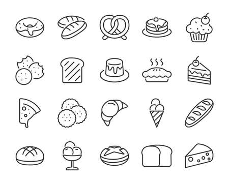 set of bakery icons , such as bake, bread, toast, pie, waffle, pizza, donut, cake Stockfoto - 124649364