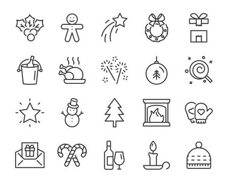 set of christmas line icons, such as box, gift, winter Stockfoto - 124649369