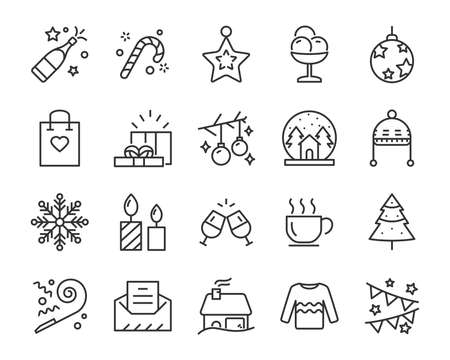 set of christmas line icons, such as box, gift, winter Stock Illustratie
