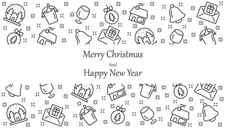 Christmas and Happy New Year background, christmas icons