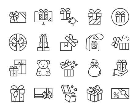 set of christmas and happy new year gift icons