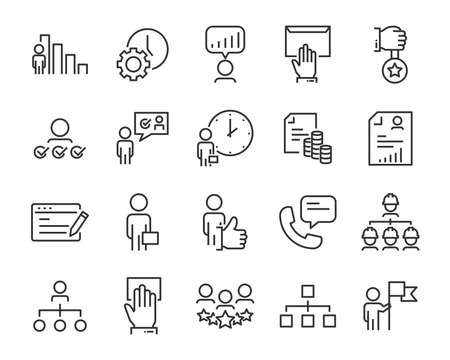 set of job search icons ,such as work, career, training, business, skill, meeting