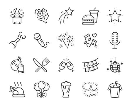 set of celebration icons, such as gift, christmas, party, champagne, event, birthday