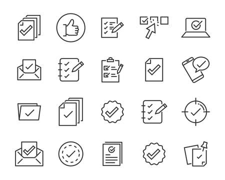 set of checkmark vector line icons, contains such as check, document and more Stock Illustratie