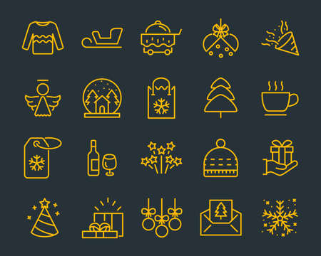 set of chistmas line icons, such as box, gift, winter Stock Illustratie