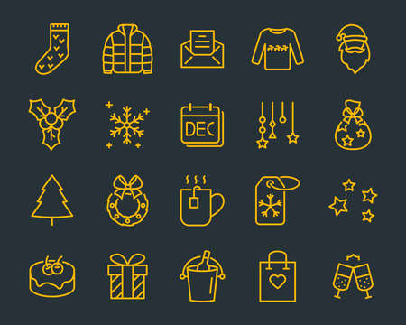 set of chistmas line icons, such as box, gift, winter Stockfoto - 123995294