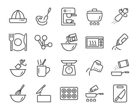 set of cooking icons, such as bake, boil, heat, fries, mixer