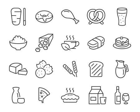 set van voedselpictogrammen, zoals brood, vlees, friet, ontbijt, drankjes