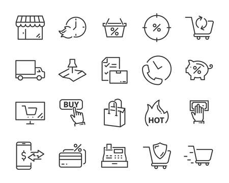 set of shopping icons, such as delivery, e-commerce, service, price, pay, sale Stockfoto - 123995307
