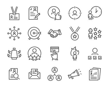 set of job seach icons ,such as work, career, traning, business, skill, meeting Stockfoto - 123995311