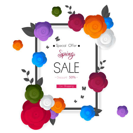 spring flower sale promotion poster, spring banner for online shopping website, new spring collection, vector illustration
