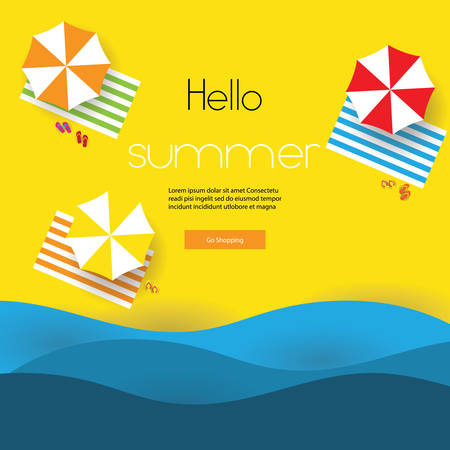 summer super sale, vector illustration template poster brochure voucher and banner, summer new collection, promotion discount