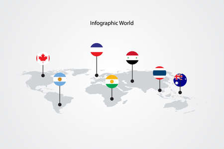 infographic world map, transport communication information plan position Stock Illustratie