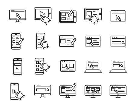 set of website icons, such as web, browser, network, writing