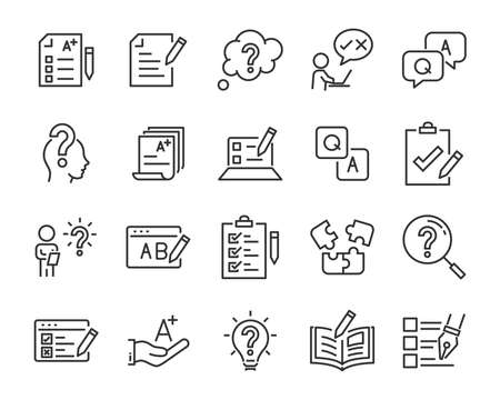set of question icons, such as, question mark, talk, answer, test, learning Stock Illustratie