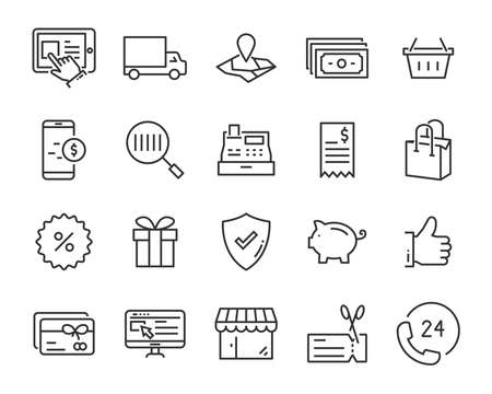 set of shopping icons, such as e-commerce, payment, store, marketing Stock Illustratie