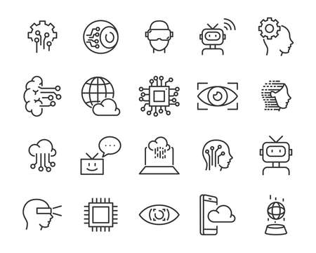 set of technology icon set, such as robot, digital, vr, ai, cyber Stock Illustratie