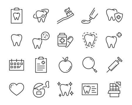 set of teeth icons, such as dental, tooth, brush, mouth, oral, pain