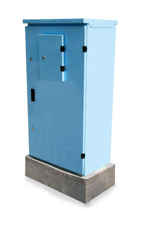 outage: Blue power box. Stock Photo