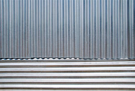corrugated iron: Horizontal and vertical corrugated iron background. Stock Photo