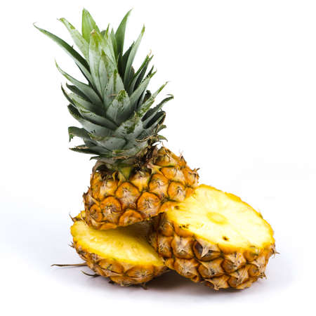 Fresh slice pineapple on white background 版權商用圖片