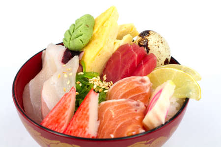 Japan food sashimi on the rice