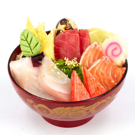 Japan food sashimi on the rice photo