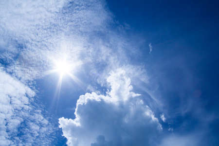 blue sky with white could and sun photo