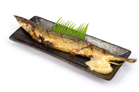Japanese food style , Saba fish grilled the plate on white background