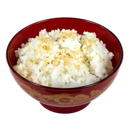 plain rice on the red cup japan style photo