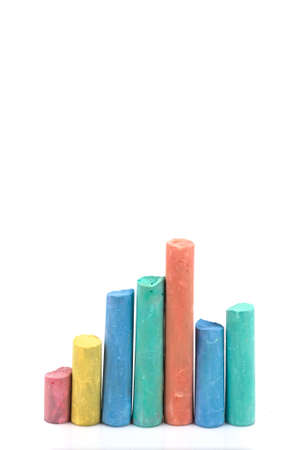 Graph by Chalk in white background Stock Photo