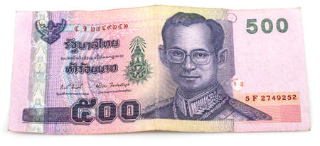 front of five hundred Thai baht