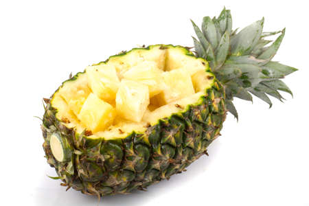 Fresh slice pineapple on white background photo