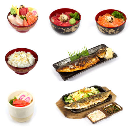 Mix Japanese food in white background photo