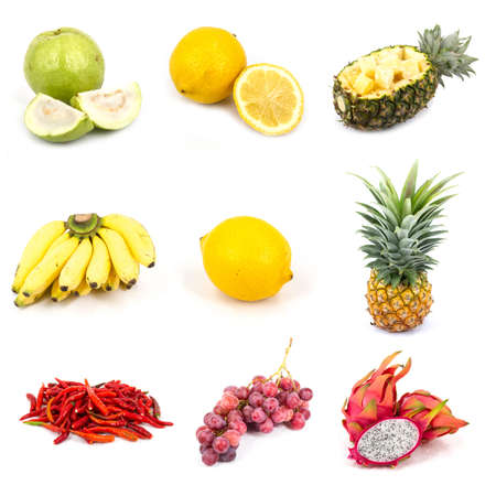 Thai mix fruit in white background photo