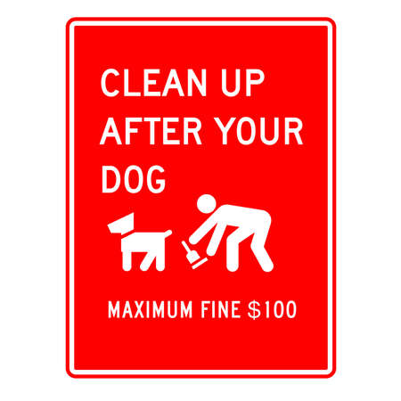 pooping: dog cleaning warning sign  Stock Photo