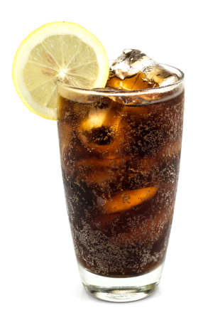 a glass of cola in white background