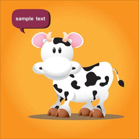 Cow vector in yellow background Vector