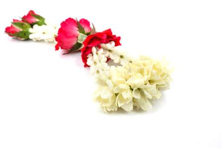 Thai Jusmine garland in white background photo