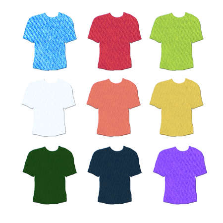 collarless: T-shirts shaped textile cotton samples