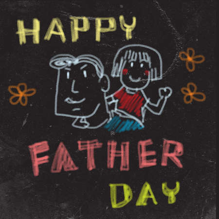 Happy father's day draw on the black board