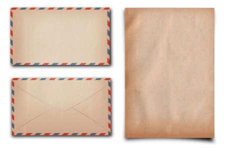 vintage letter paper and enlelope on white background