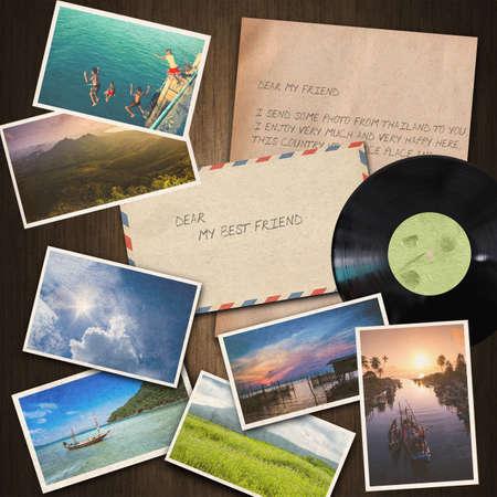 sent: vintage paper , postcard ,envelope on wood background