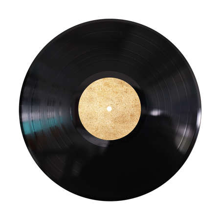 tracklist: vinyl record on white background Stock Photo