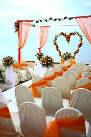 Beach Wedding Ceremony orange color theme