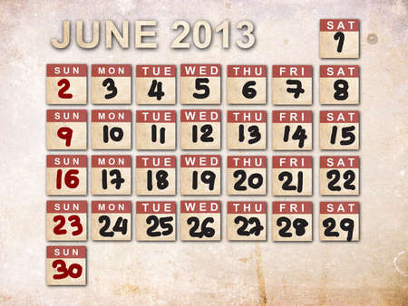 June 2013 Calendar on vintage paper background photo