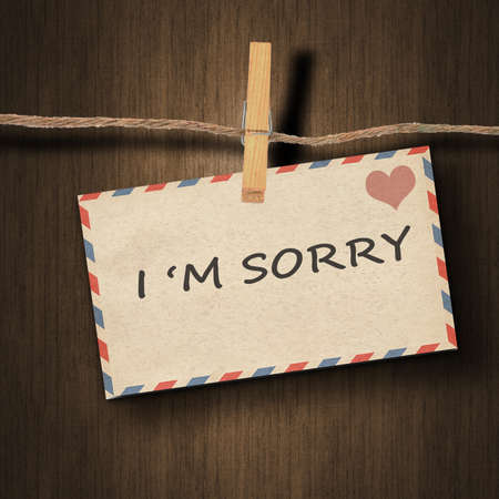 i am sorry: text I am sorry on the old envelope and clothes peg wood background