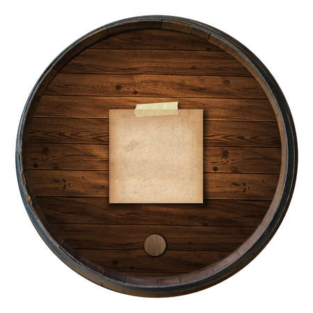 short note old paper on the Wine barrels isolated white background Stock Photo